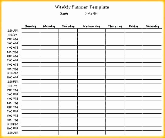 Weekly Hourly Planner Template Excel Elegant Daily Hourly Planner Template Excel Hourly Calendar