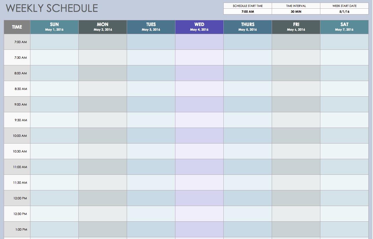 Weekly Hourly Planner Template Excel Elegant Free Weekly Schedule Templates for Excel Smartsheet