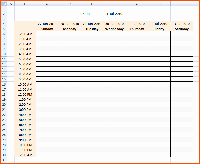 Weekly Hourly Planner Template Excel New 3 Hourly Calendar Bookletemplate
