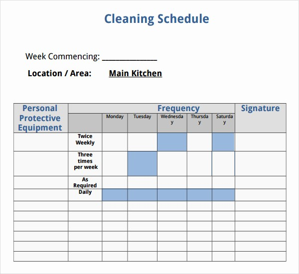 Weekly House Cleaning Schedule Template Awesome 7 House Cleaning Checklist Templates – Pdf Doc