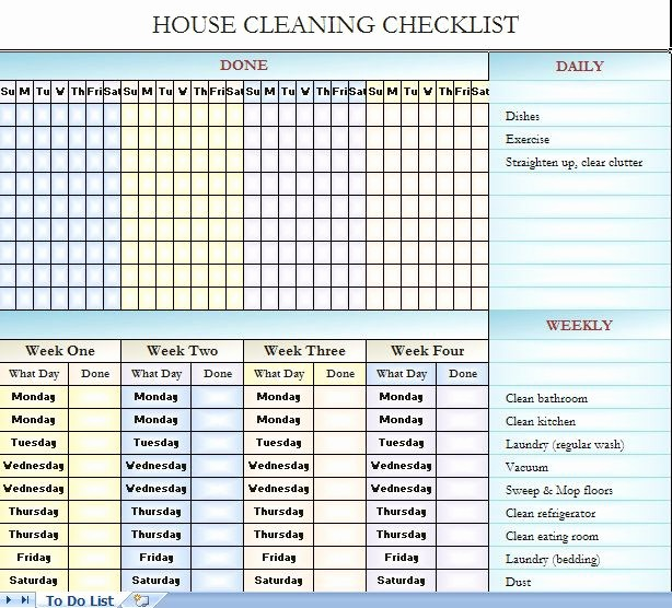 Weekly House Cleaning Schedule Template Awesome House Cleaning Checklist It S In Excel so You Can Change