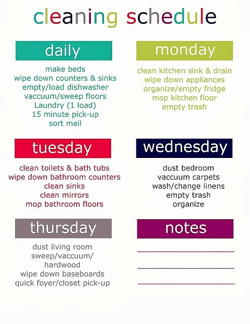 Weekly House Cleaning Schedule Template Awesome Printable Weekly Cleaning Schedule