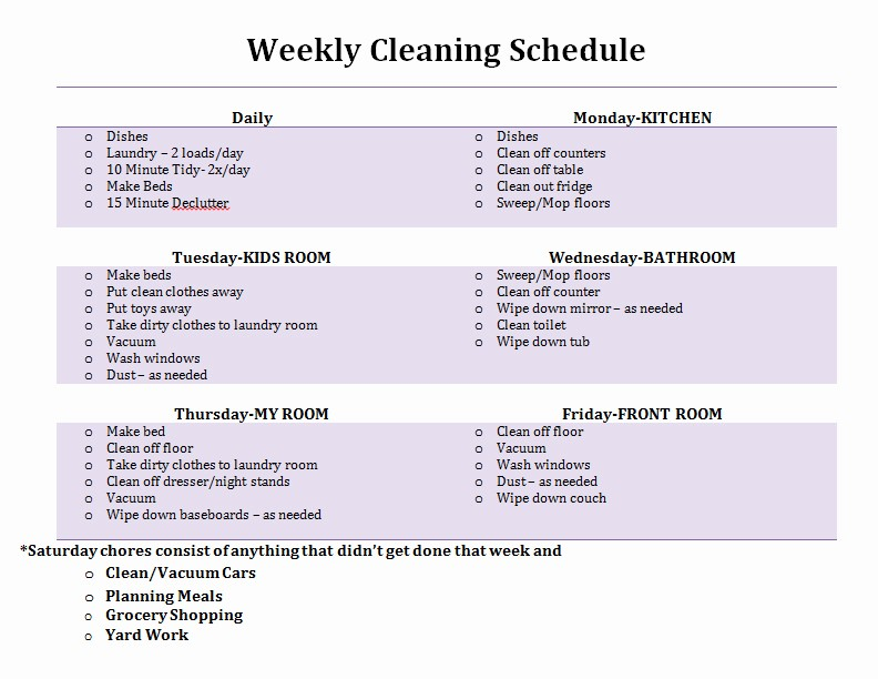 Weekly House Cleaning Schedule Template Elegant Weekly Cleaning Schedule and Checklist Template V M D