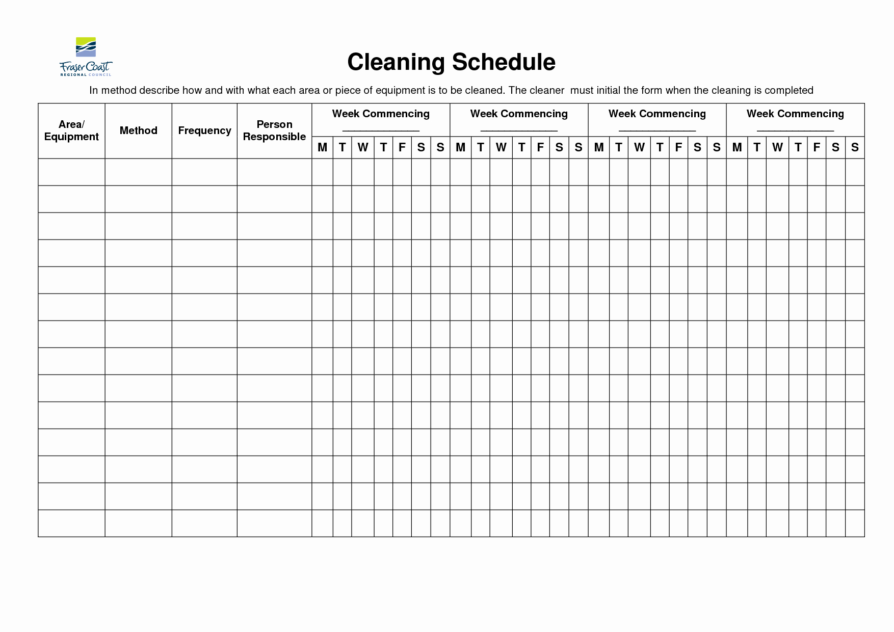 Weekly House Cleaning Schedule Template Fresh 8 Best Of Restroom Cleaning Schedule Printable