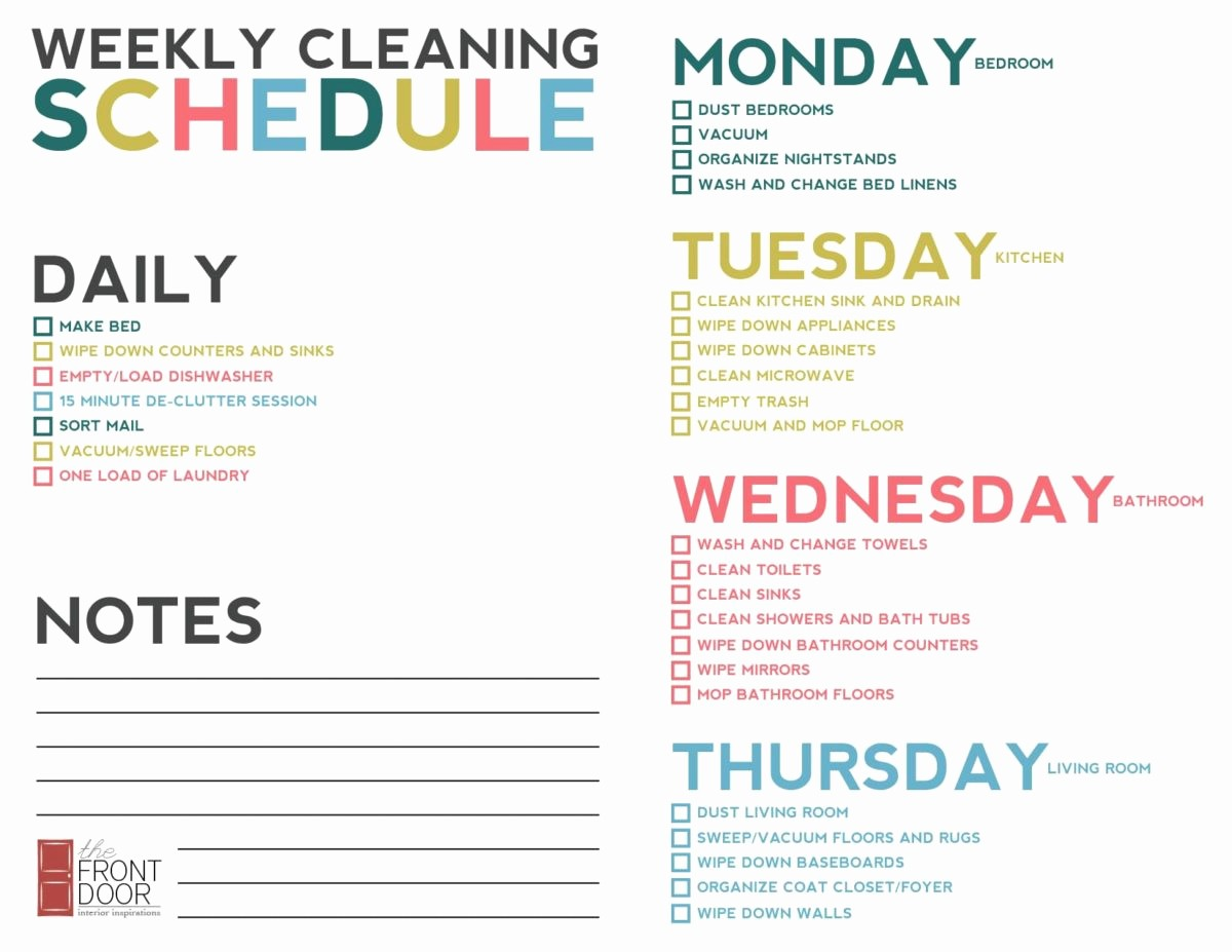 Weekly House Cleaning Schedule Template Fresh Weekly Cleaning Schedule