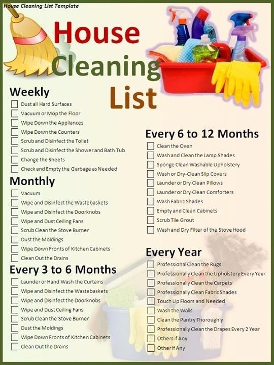 Weekly House Cleaning Schedule Template Fresh Weekly Monthly Yearly Cleaning Suggestions