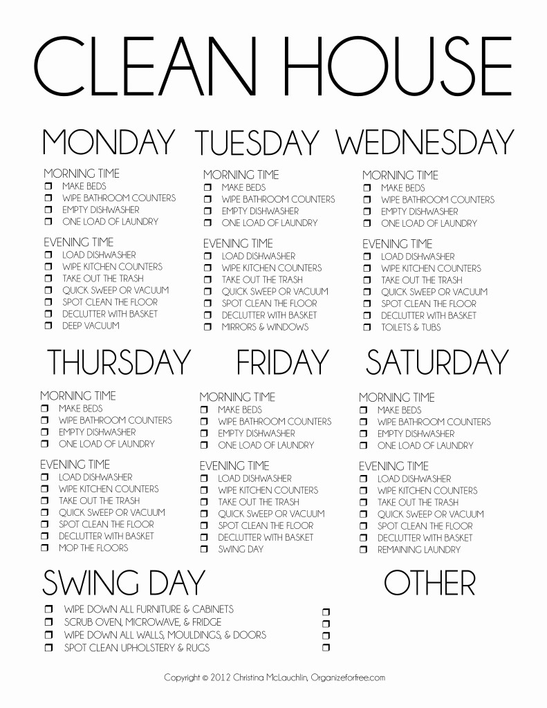 Weekly House Cleaning Schedule Template Inspirational 7 Best Of Printable Weekly Housekeeping Schedule