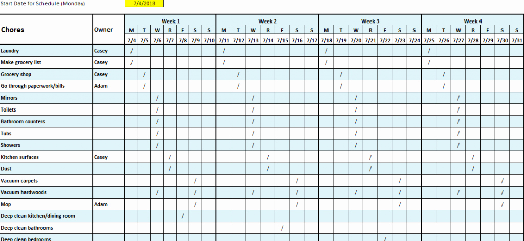 Weekly House Cleaning Schedule Template Inspirational Daily Cleaning Schedule Template