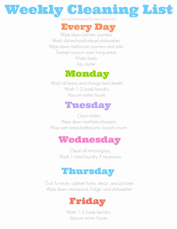 Weekly House Cleaning Schedule Template Luxury Daily Cleaning Schedule