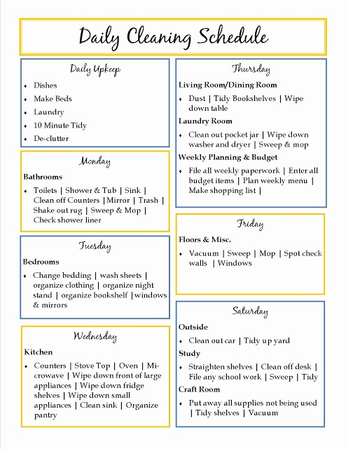 Weekly House Cleaning Schedule Template New House Cleaning Daily House Cleaning Templates