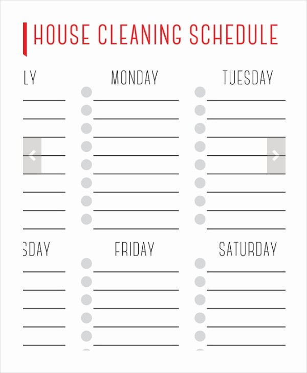 Weekly House Cleaning Schedule Template New House Cleaning Schedule 16 Free Word Pdf Psd