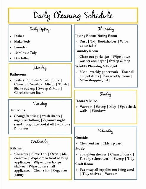 Weekly House Cleaning Schedule Template Unique Good List to Go Off Of when I Make My Own Personal One
