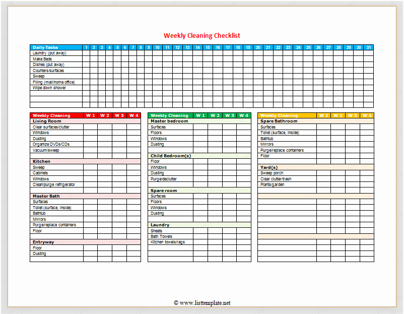 Weekly House Cleaning Schedule Template Unique Weekly Cleaning Checklist for Word List Templates