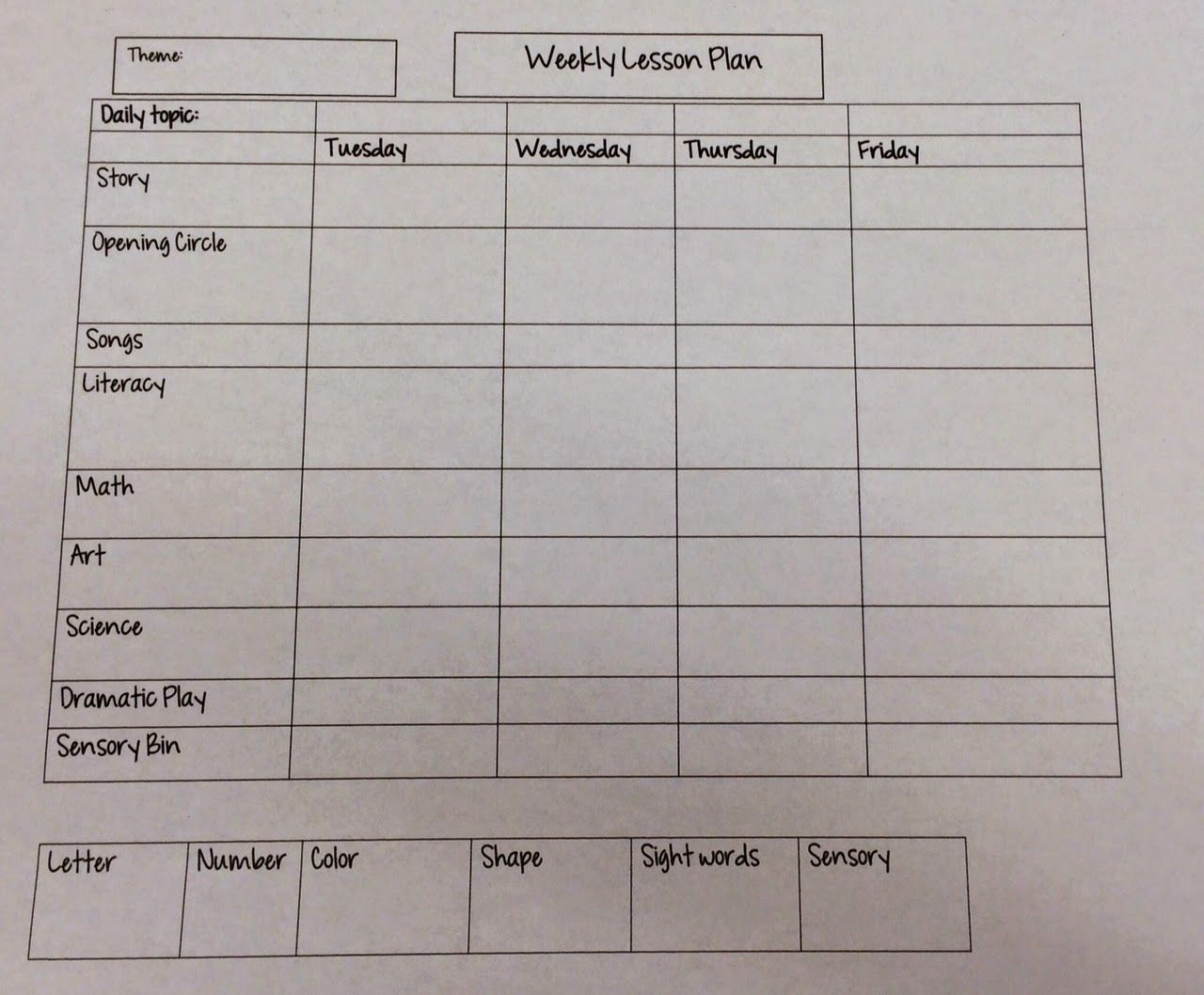 Weekly Lesson Plan Templates Free Fresh Miss Nicole S Preschool Weekly Lesson Plan Template