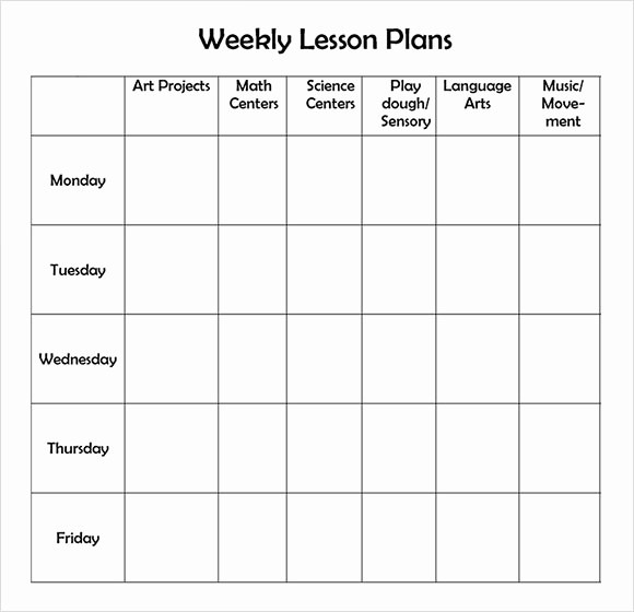 Weekly Lesson Plan Templates Free Inspirational 9 Sample Weekly Lesson Plans