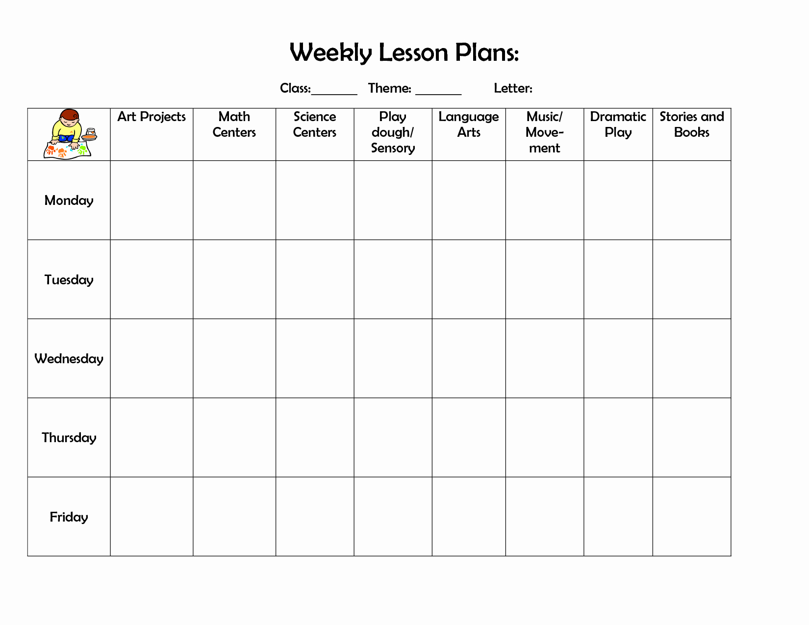 Weekly Lesson Plan Templates Free Luxury Infant Blank Lesson Plan Sheets