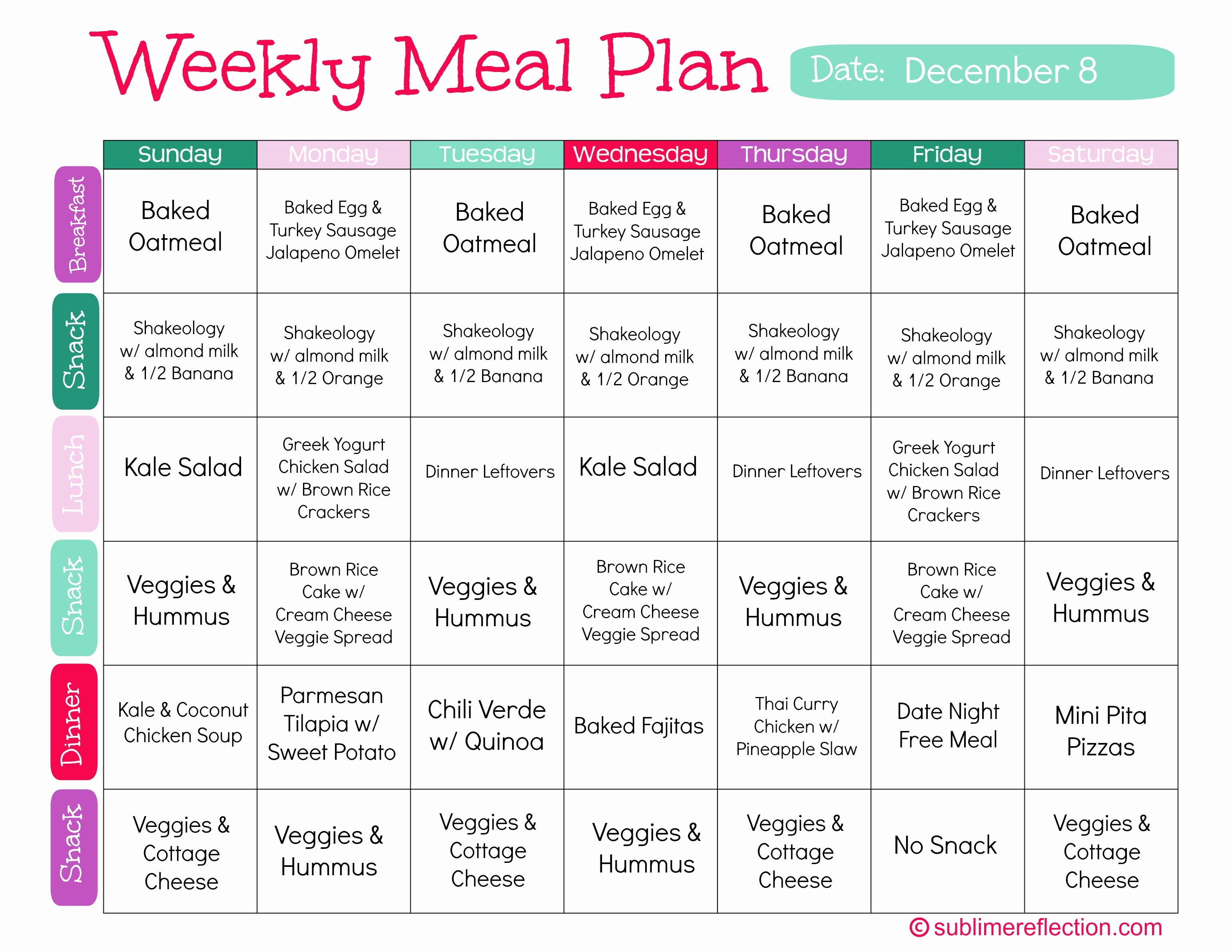 Weekly Meal and Snack Planner Awesome Resumes Cv Weight Loss Meal Plan