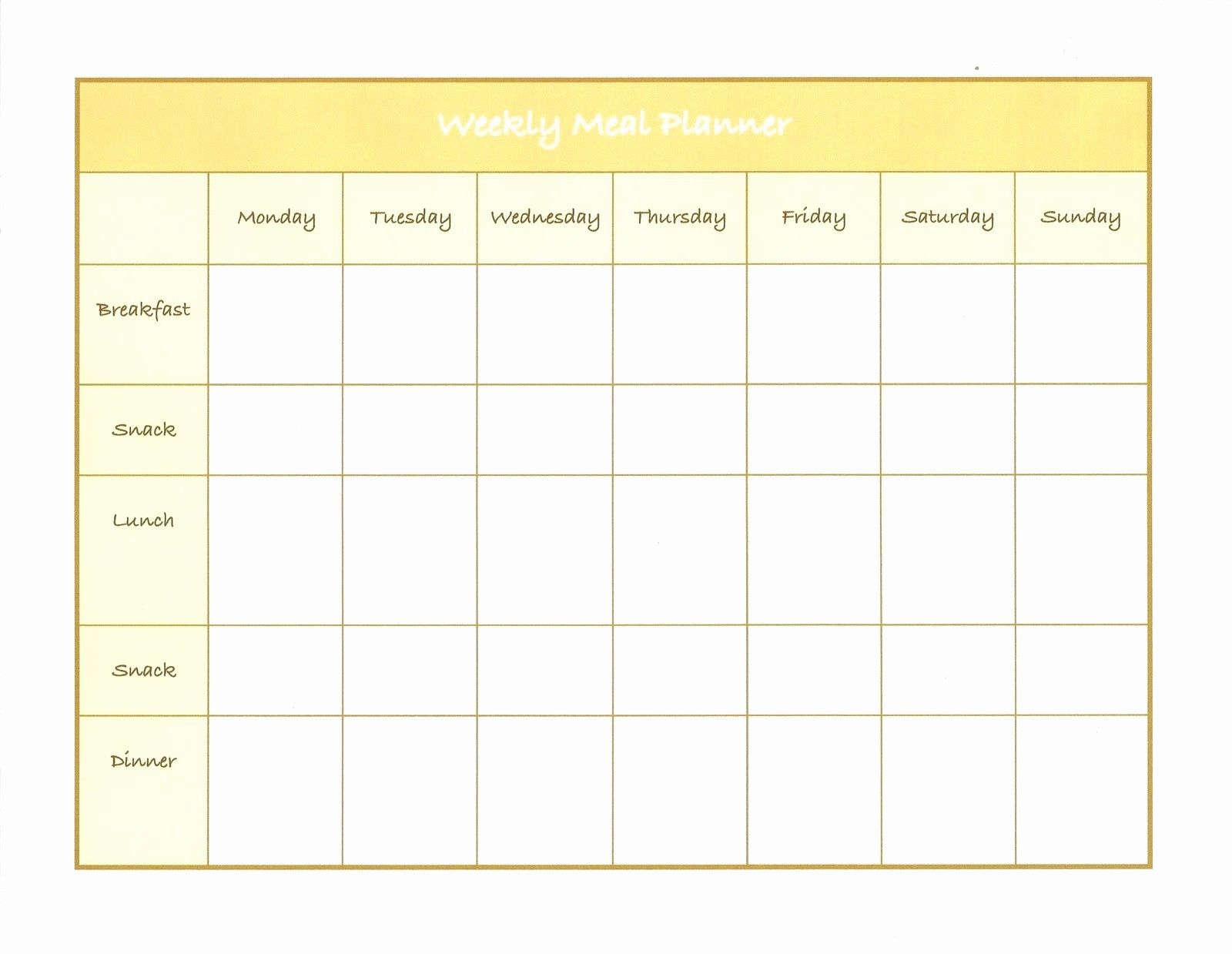Weekly Meal and Snack Planner Best Of Weekly Menu Template