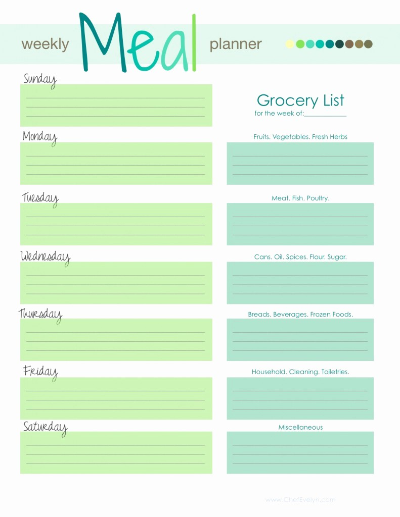 Weekly Meal and Snack Planner Elegant Weekly Menu Template
