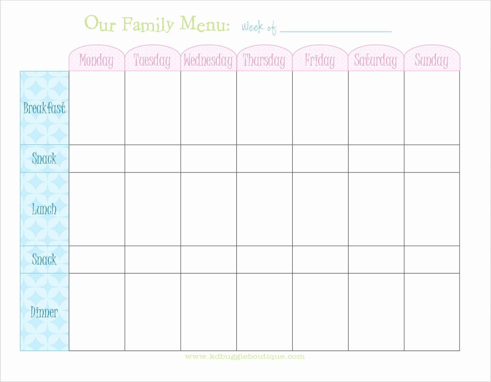 Weekly Meal and Snack Planner Fresh Freebie Weekly Menu Planner Download Naturally Creative