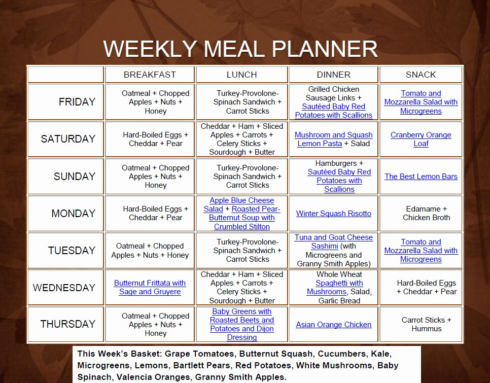 Weekly Meal and Snack Planner Fresh Recipe Ideas Weekly Recipe Ideas