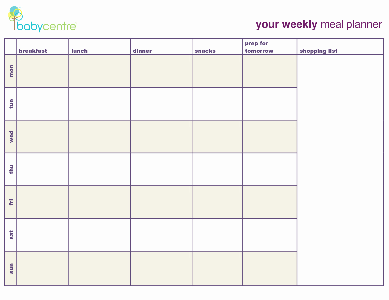 Weekly Meal and Snack Planner Lovely 6 Best Of Printable Meal Planner with Snacks 7