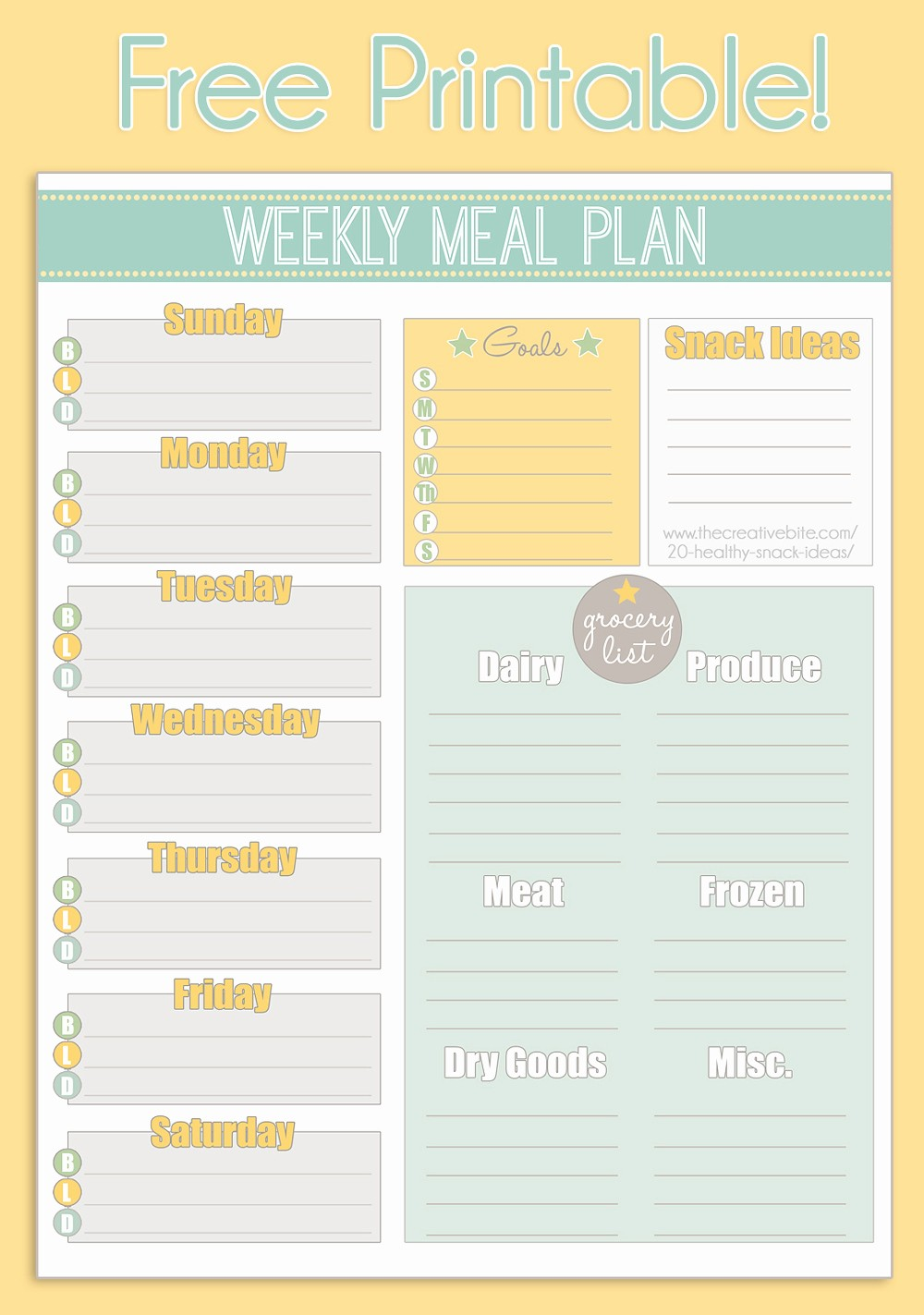 Weekly Meal and Snack Planner Lovely Free Printable Weekly Meal Planner Calendar