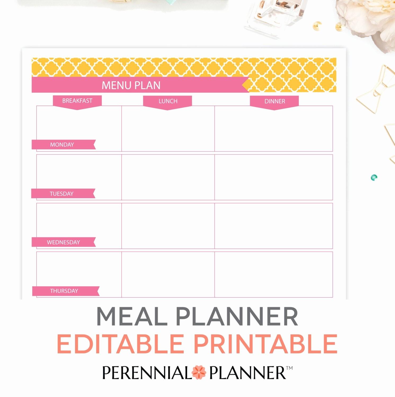 Weekly Meal and Snack Planner Luxury Menu Plan Weekly Meal Planning Template Printable Editable