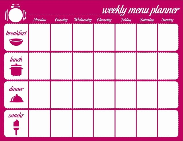 Weekly Meal and Snack Planner New Meal Plan Calendar Template Google Search