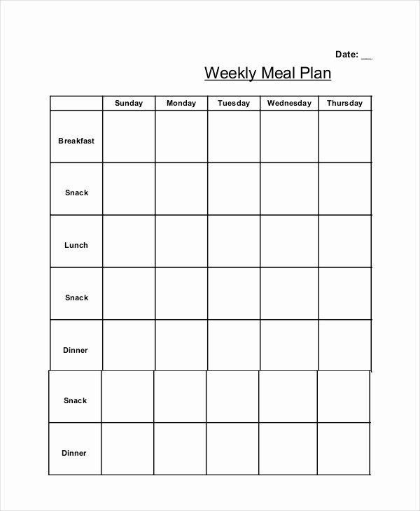 Weekly Meal and Snack Planner New Weekly Meal Planner 10 Free Pdf Psd Documents Download