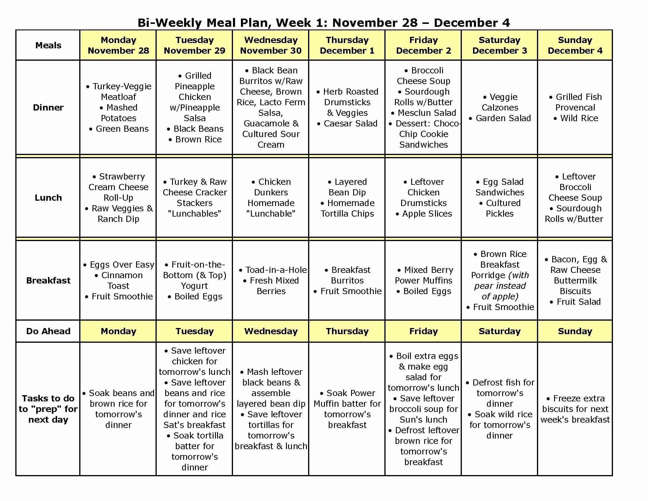 Weekly Meal and Snack Planner Unique Bi Weekly Meal Plan 9a Has Recipes too