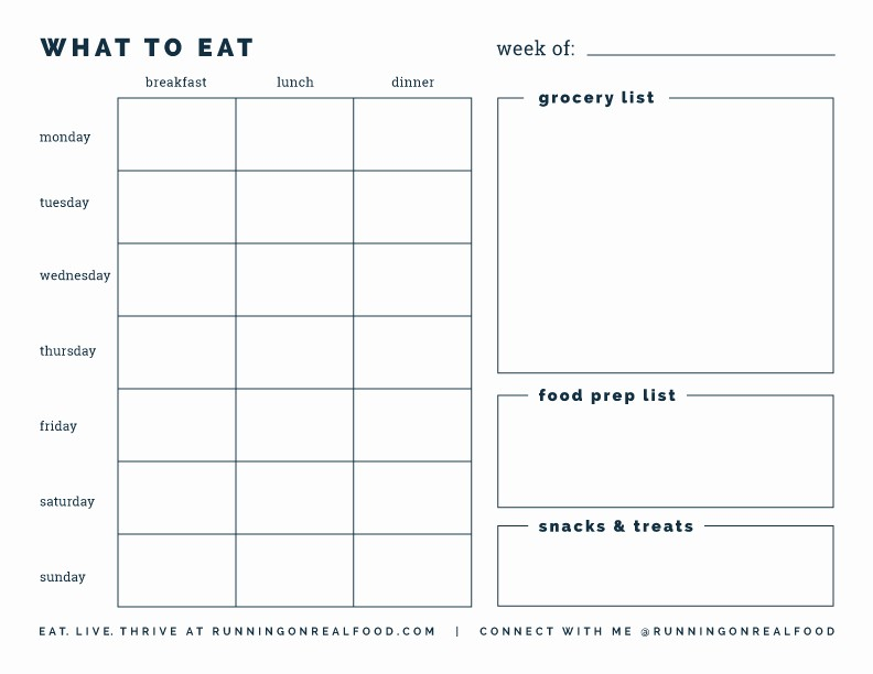 Weekly Meal and Snack Planner Unique Free Printable Weekly Meal Planner