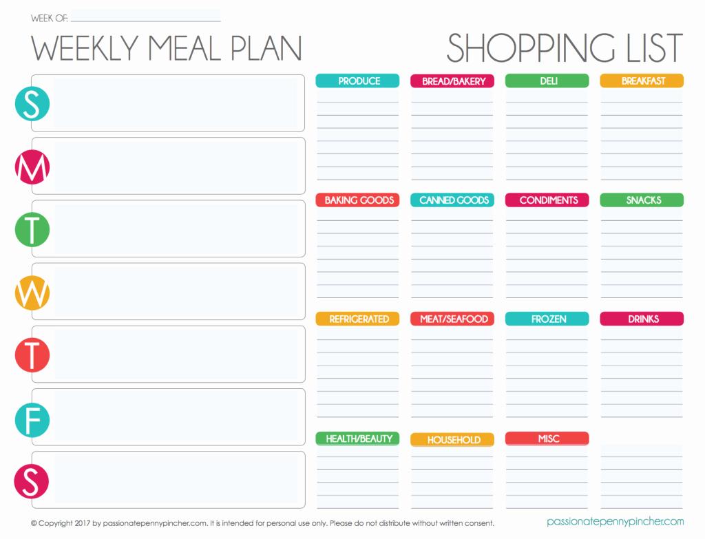 Weekly Meal Plan Template Free Beautiful Free Editable Menu Plan and Grocery List