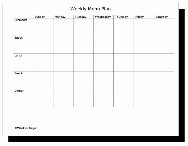 Weekly Meal Plan Template Free Elegant Weekly Menu Template