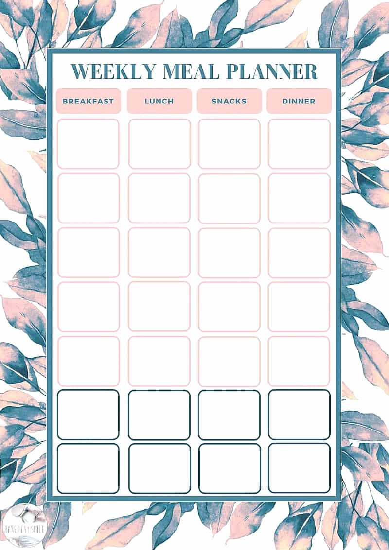 Weekly Meal Plan Template Free Inspirational Free Weekly Meal Planning Template Bake Play Smile