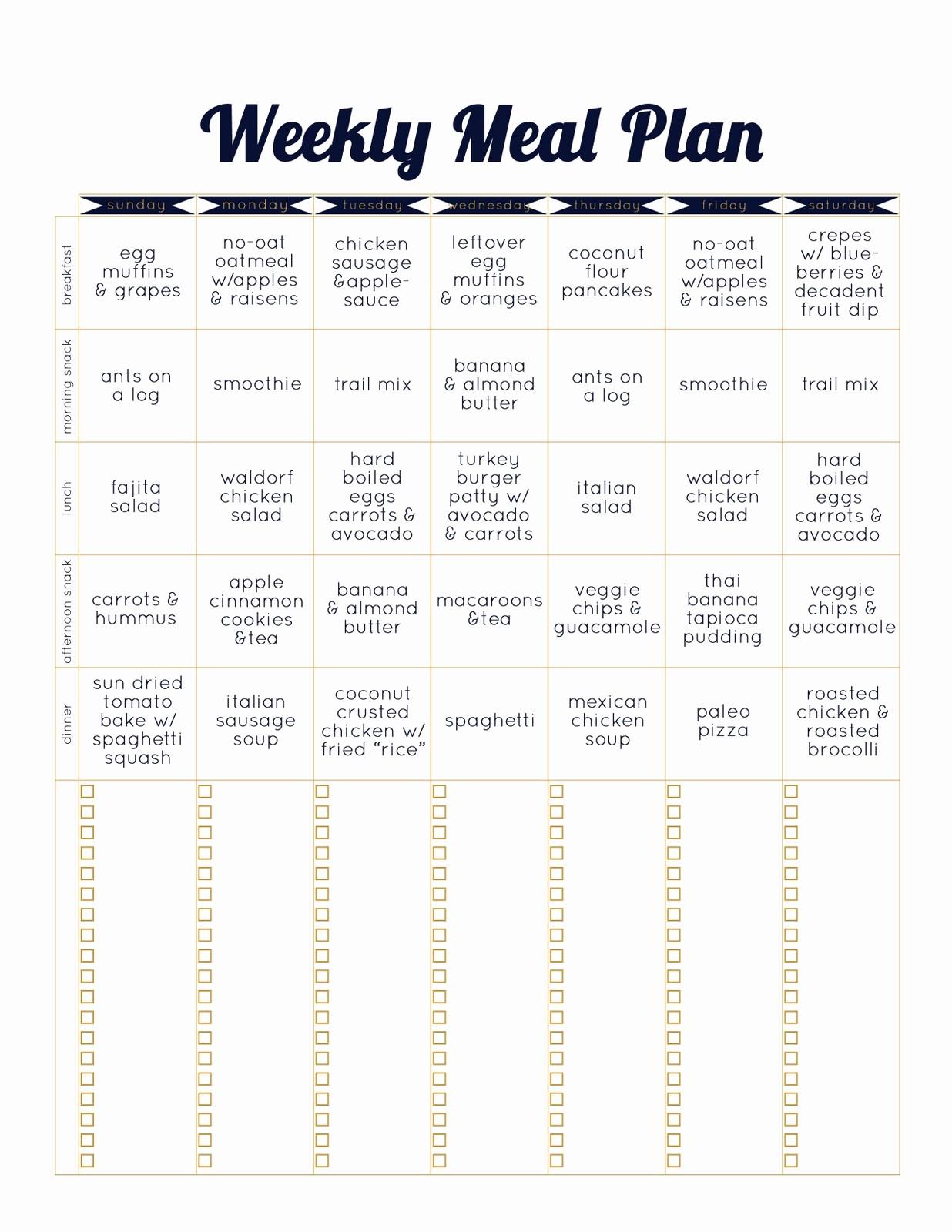 Weekly Meal Plan Template Free Luxury Always Underfoot Paleo Template Weekly Meal Plan