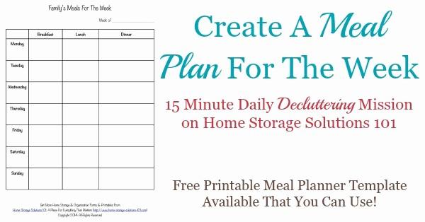 Weekly Meal Plan Template Free New Printable Weekly Meal Planner Template