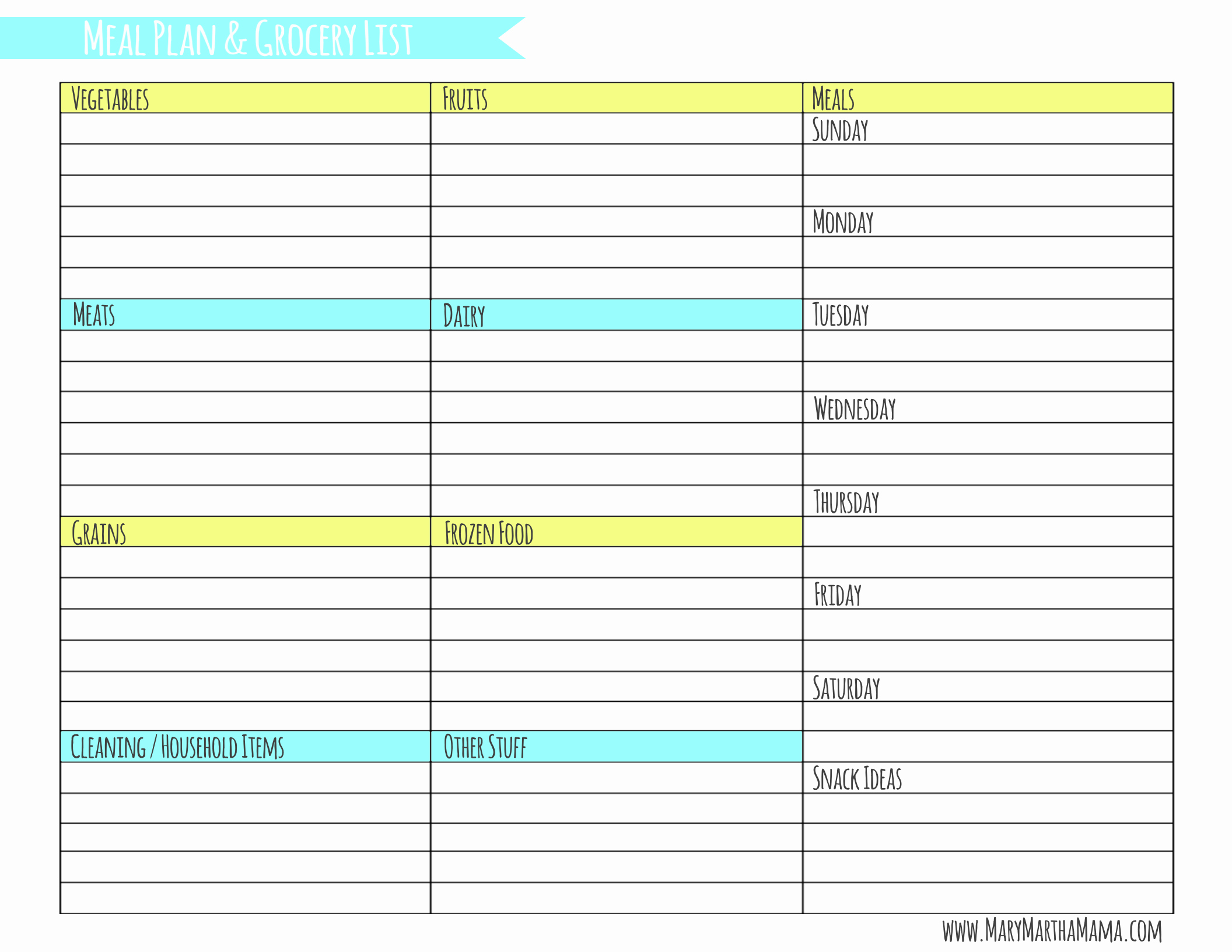 Weekly Meal Plan Template Free Unique Weekly Meal Planner Template with Grocery List – Mary