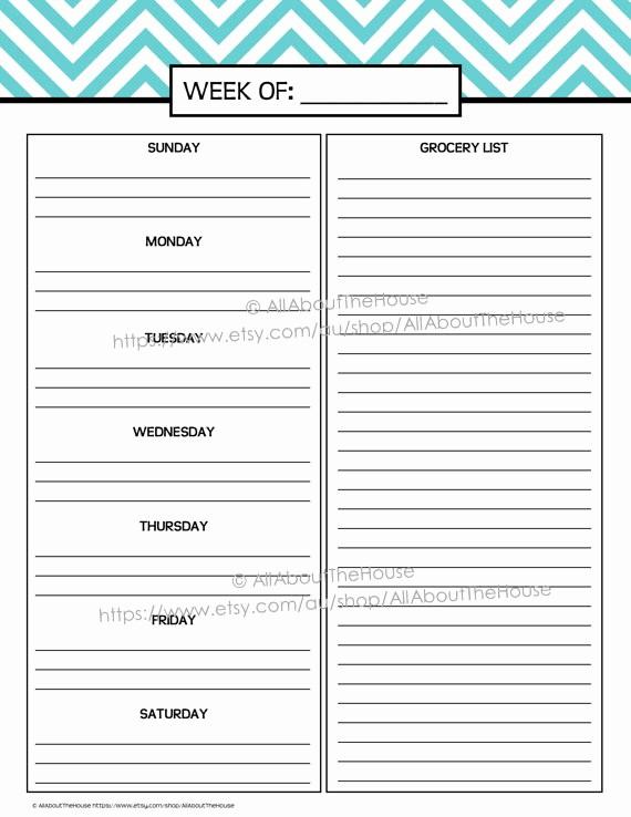 Weekly Meal Planner Template Pdf Best Of Weekly Meal Planner Printable Chevron Blue Menu Planner Pdf