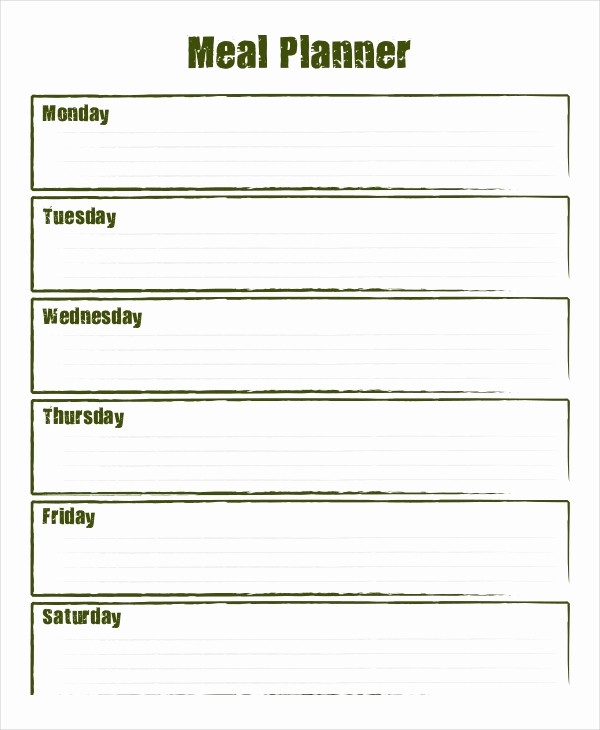 Weekly Meal Planner Template Pdf Elegant Blank Weekly Menu Template