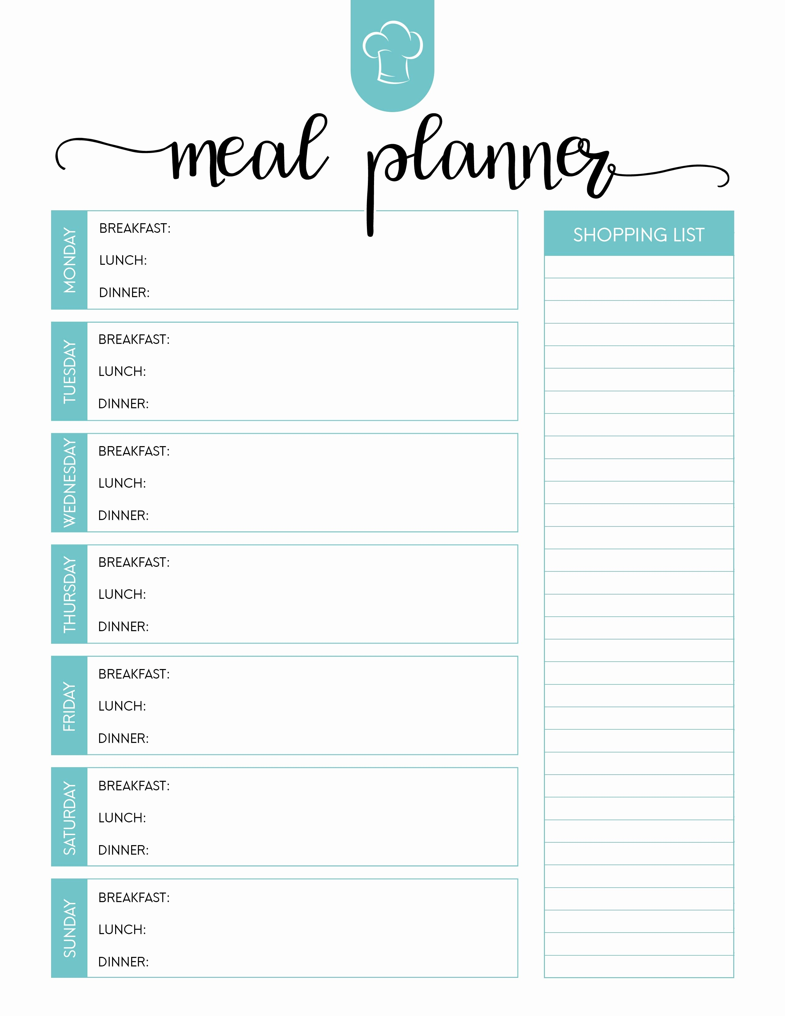 Weekly Meal Planner Template Pdf Fresh Printable Meal Planning Template Dinner Planner Blank Plan