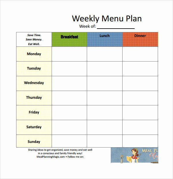 Weekly Meal Planner Template Pdf Lovely 14 Weekly Meal Plan Templates