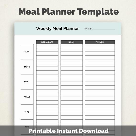 Weekly Meal Planner Template Pdf Luxury Weekly Meal Planner Template Printable Pdf by Selecttemplates