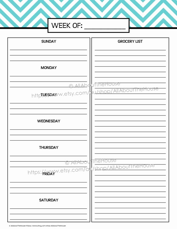 Weekly Meal Planner Template Pdf Unique 9 Best Of Weekly Planner Printable Pdf Weekly