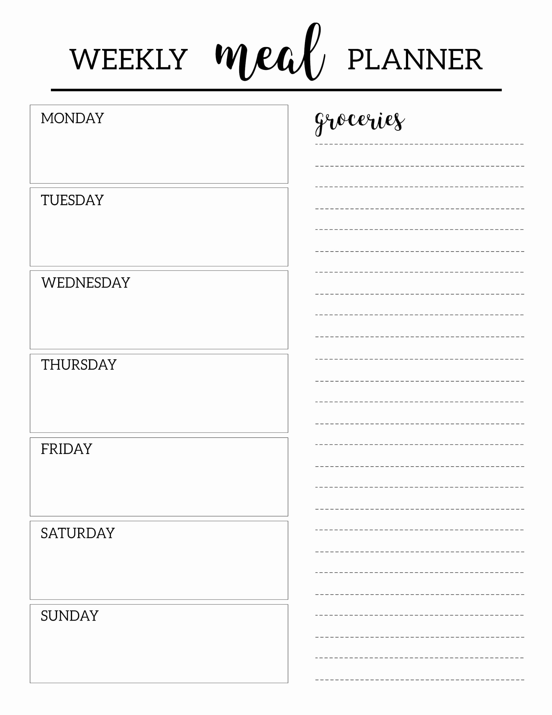 Weekly Meal Planner Templates Free Awesome Free Printable Meal Planner Template organization