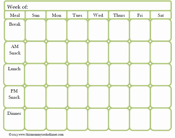 Weekly Meal Planner Templates Free Awesome Weekly Meal Planner Template with Snacks