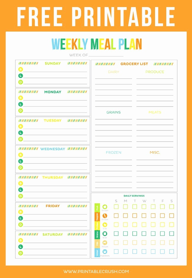 Weekly Meal Planner Templates Free Best Of Free Printable Weekly Meal Planner Printable Crush