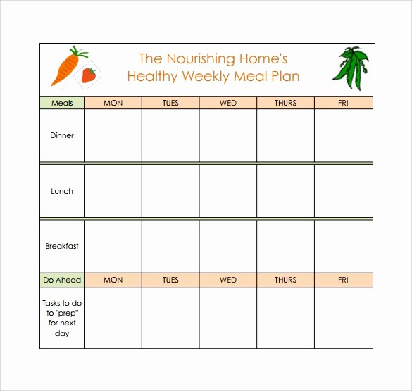 Weekly Meal Planner Templates Free Elegant 18 Meal Planning Templates – Pdf Excel Word