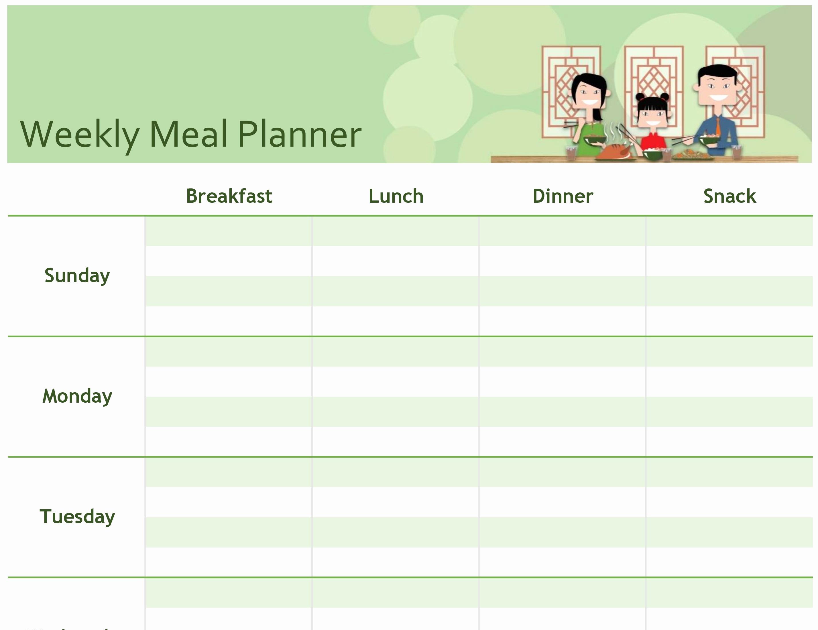 Weekly Meal Planner Templates Free Elegant Excel