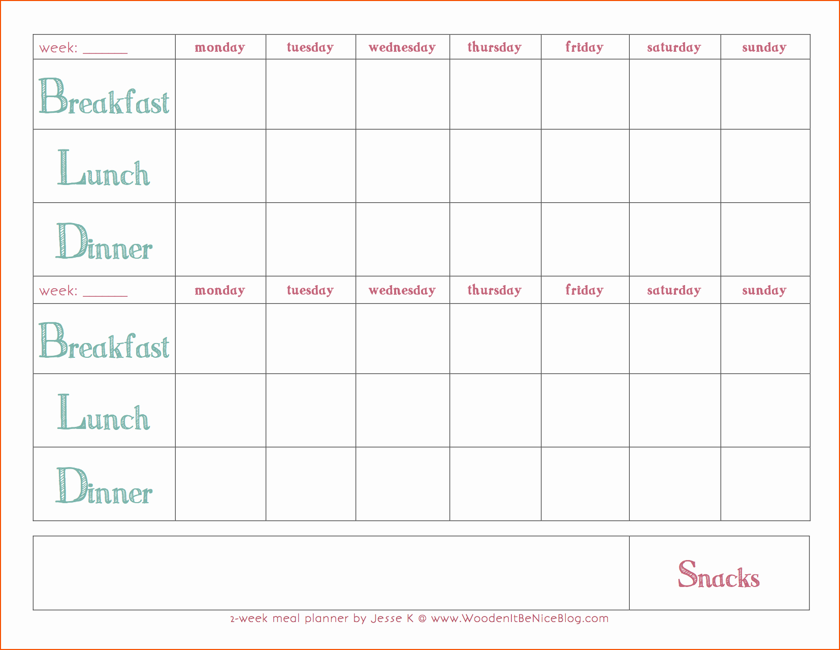 Weekly Meal Planner Templates Free Fresh 8 Weekly Meal Plan Template Bookletemplate